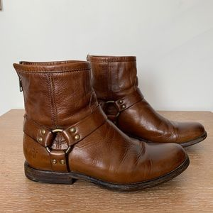 Cognac Frye leather booties